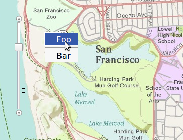 Menu sobre Mapa con botón derecho