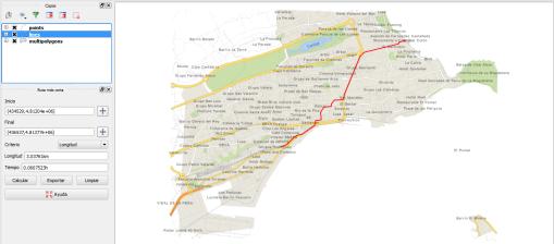Fig.3: Los datos de la red de transporte OSM utilizados para un cálculo de camino más corto