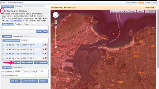 Fig.1: Selección del ámbito de interés en EarthExplorer