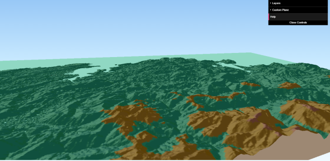Fig.6: MDE SRTM en vista 3D con Qgis2threejs